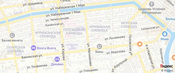Улица Мечникова на карте Астрахани с номерами домов