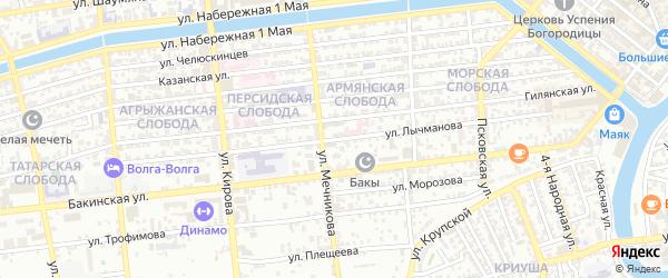 Улица Лычманова на карте Астрахани с номерами домов
