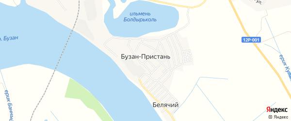 Карта поселка Бузана-Пристаня в Астраханской области с улицами и номерами домов