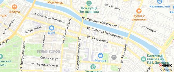Улица Свердлова на карте Астрахани с номерами домов