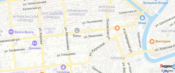 Улица Морозова на карте Астрахани с номерами домов