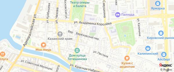 Березовский переулок на карте Астрахани с номерами домов