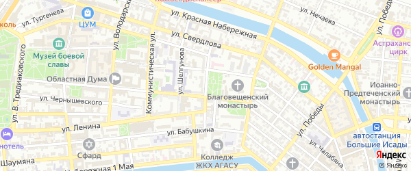 Улица Михаила Аладьина на карте Астрахани с номерами домов