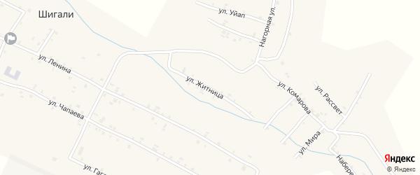 Улица Житница на карте села Шигали Чувашии с номерами домов