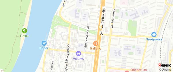 Бертюльская улица на карте Астрахани с номерами домов