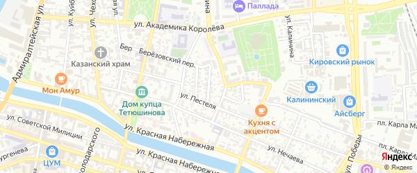 Улица Бетховена на карте Астрахани с номерами домов
