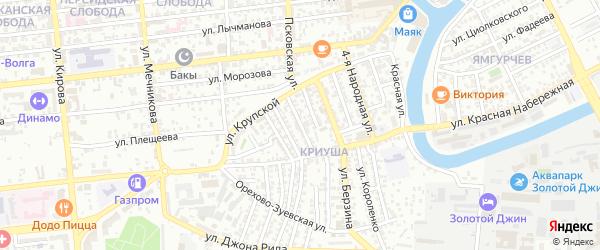 Улица Воробьева на карте Астрахани с номерами домов