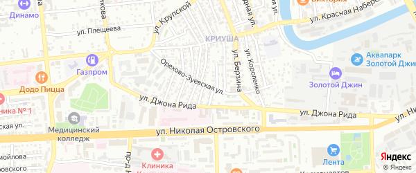 Орехово-Зуевская улица на карте Астрахани с номерами домов