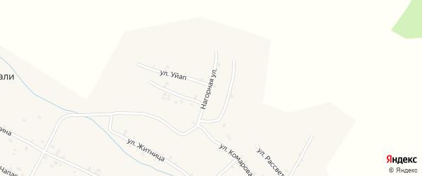 Нагорная улица на карте села Шигали Чувашии с номерами домов