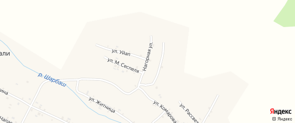 Нагорная улица на карте села Шигали с номерами домов