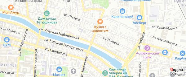 Улица Калинина на карте Астрахани с номерами домов