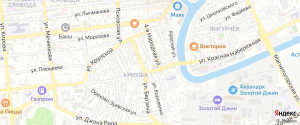 Народная 5-я улица на карте Астрахани с номерами домов