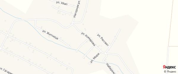Улица Комарова на карте села Шигали Чувашии с номерами домов