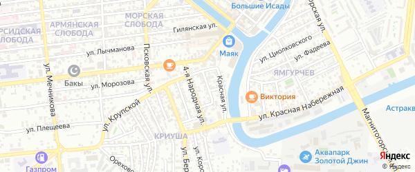 Народная 2-я улица на карте Астрахани с номерами домов