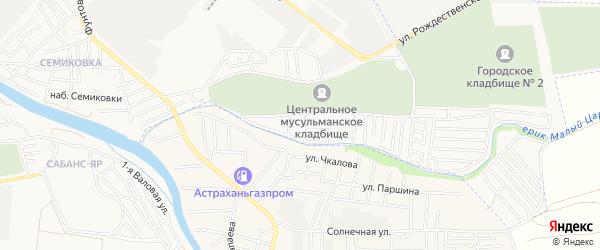 Садовое товарищество Садовод-Любитель на карте Астрахани с номерами домов