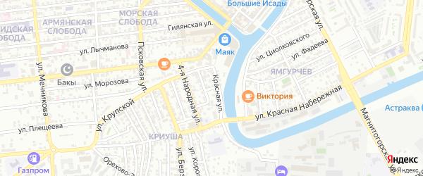 Адмиралтейская 1-я улица на карте Астрахани с номерами домов
