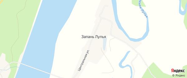 Карта поселка Запани Лупья в Архангельской области с улицами и номерами домов