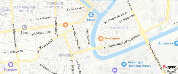 Красная улица на карте Астрахани с номерами домов