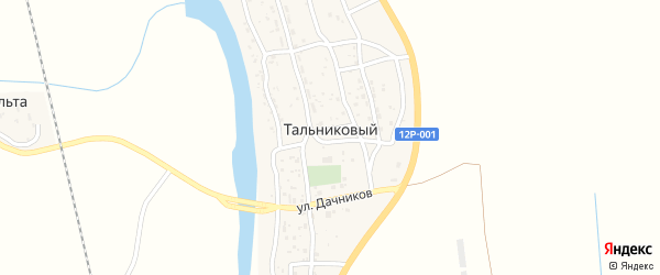 Дорожная улица на карте Тальникового поселка Астраханской области с номерами домов