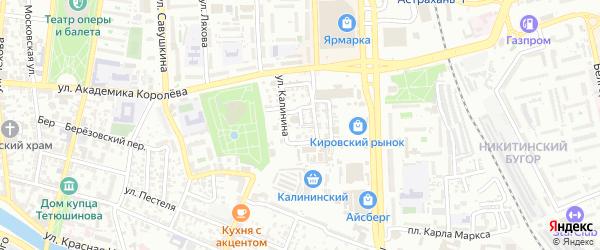 Водопроводный переулок на карте Астрахани с номерами домов