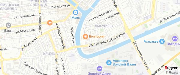 Свирский переулок на карте Астрахани с номерами домов