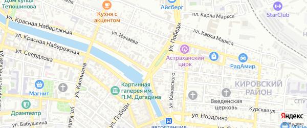 Улица Победы на карте Астрахани с номерами домов