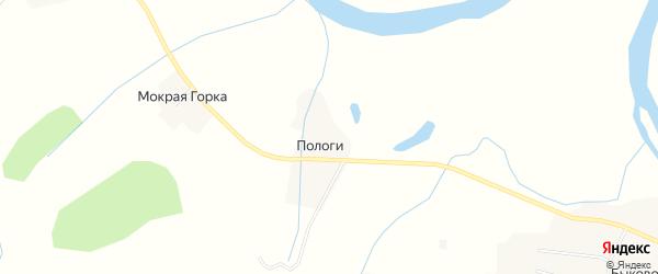 Карта деревни Пологи в Архангельской области с улицами и номерами домов