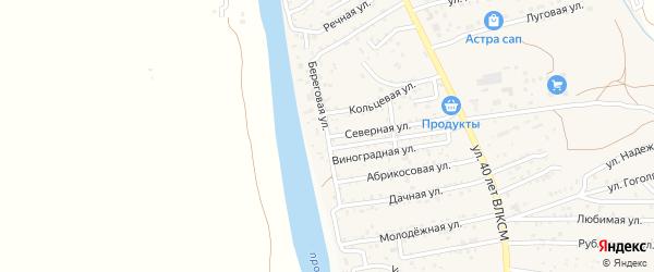 Береговая улица на карте поселка Кирпичного Завода N1 Астраханской области с номерами домов