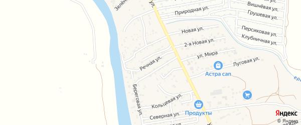 Речная улица на карте поселка Кирпичного Завода N1 Астраханской области с номерами домов