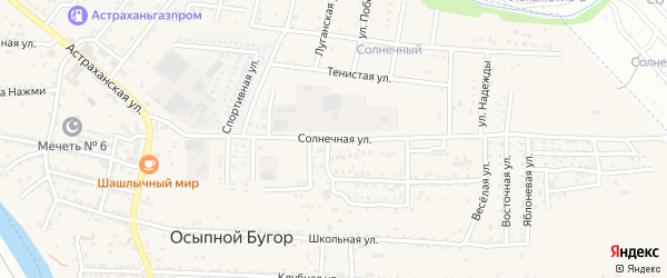 Солнечная улица на карте села Осыпного Бугра с номерами домов