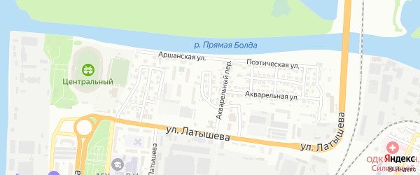 Романтический 1-й переулок на карте Астрахани с номерами домов