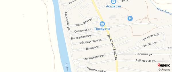 Виноградная улица на карте поселка Кирпичного Завода N1 Астраханской области с номерами домов