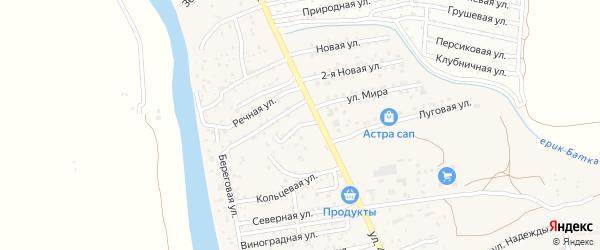 Вишневая улица на карте поселка Кирпичного Завода N1 Астраханской области с номерами домов
