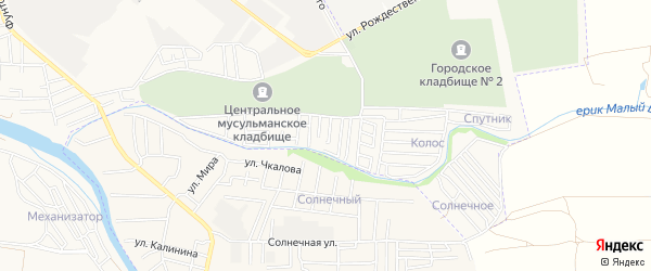 Садовое товарищество Спутник на карте Астрахани с номерами домов