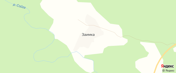 Карта деревни Заимки в Архангельской области с улицами и номерами домов