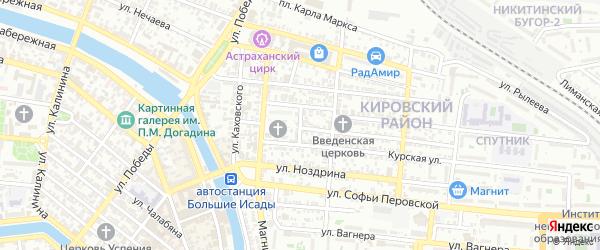 Радищевский переулок на карте Астрахани с номерами домов