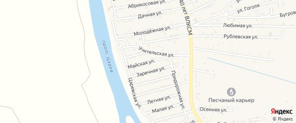 Майская улица на карте поселка Кирпичного Завода N1 Астраханской области с номерами домов