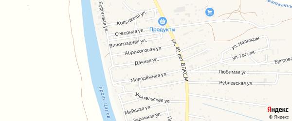 Дачная улица на карте поселка Кирпичного Завода N1 Астраханской области с номерами домов