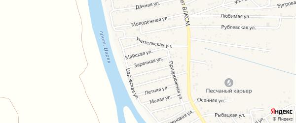 Заречная улица на карте поселка Кирпичного Завода N1 Астраханской области с номерами домов