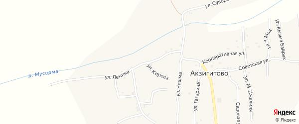 Улица Ленина на карте села Акзигитово Татарстана с номерами домов