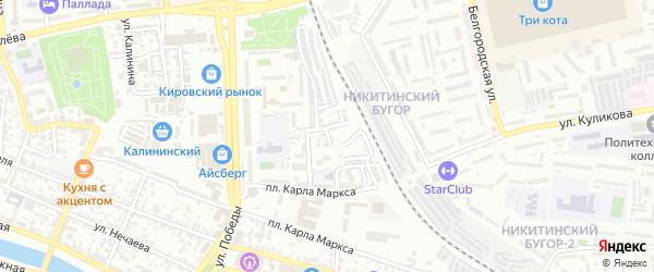 Озерный 1-й переулок на карте Астрахани с номерами домов