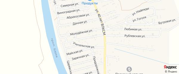 2-я Молодежная улица на карте поселка Кирпичного Завода N1 Астраханской области с номерами домов