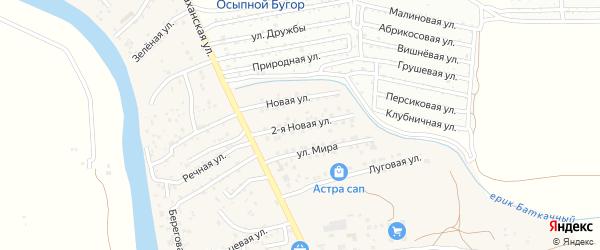 2-я Новая улица на карте поселка Кирпичного Завода N1 Астраханской области с номерами домов