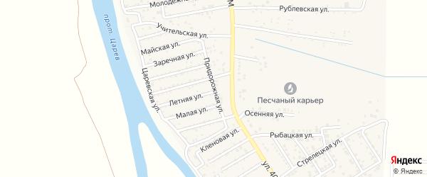 Придорожная улица на карте поселка Кирпичного Завода N1 Астраханской области с номерами домов