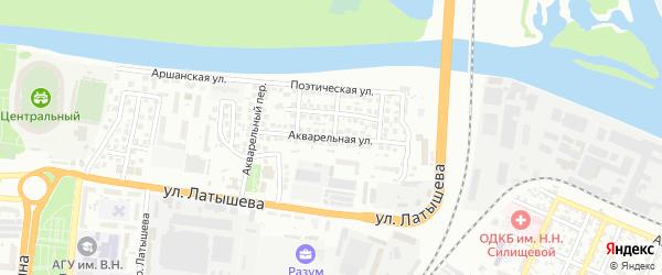 Акварельная улица на карте Астрахани с номерами домов