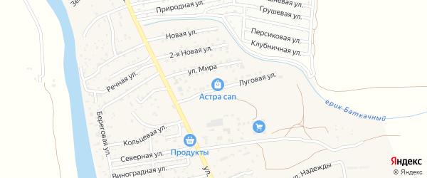 Луговая улица на карте поселка Кирпичного Завода N1 Астраханской области с номерами домов