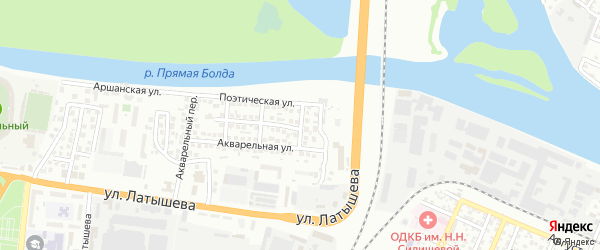Акварельный 4-й переулок на карте Астрахани с номерами домов