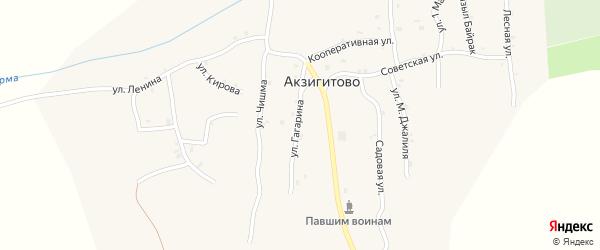 Улица Гагарина на карте села Акзигитово Татарстана с номерами домов
