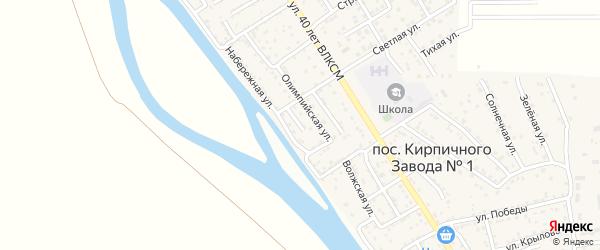 Узенький переулок на карте поселка Кирпичного Завода N1 Астраханской области с номерами домов