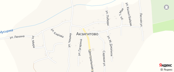 Улица Мира на карте села Акзигитово Татарстана с номерами домов